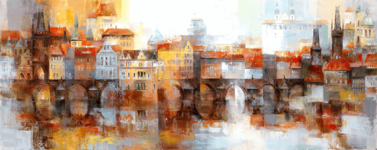 Acrylic painting. View of the old town in Prague.